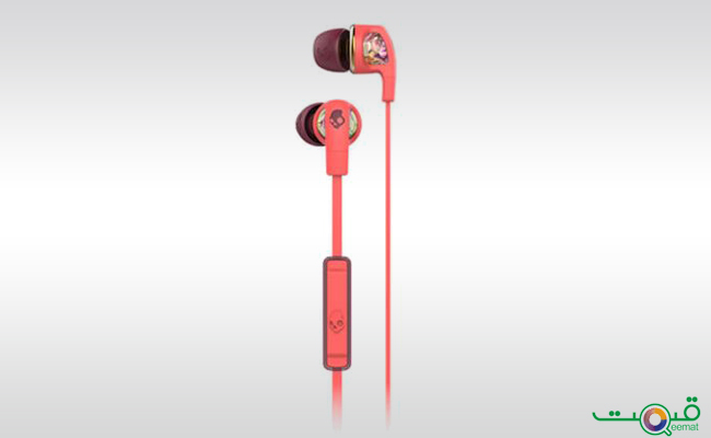Skullcandy Dime Coral Floral Burgundy with Mic